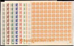 58538 - 1943 Pof.NV10-18, selection of complete sheets with plate ma