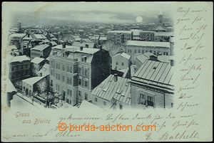 58544 - 1899 Bielitz -  winter view of town, greeny paper, long addr