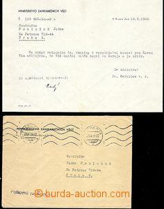 58598 - 1953 KOREA  dopis z Ministerstva zahraničí na rodinu pří