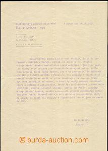58618 - 1953 KOREA  cyklostylovaný dopis z Ministerstva zahraničí