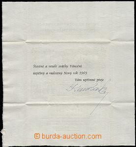 58644 - 1962 BASIKA Karel, skládaná vánoční gratulace s kresbou