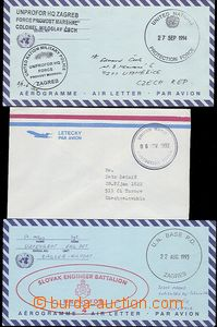 58655 - 1992-4 UNPROFOR, 2x letter to Czech Republic and 1x to Slova