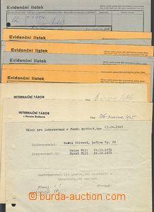 58658 - 1945-46 NOVÝ BYDŽOV  comp. 9 pcs of Evidenčních cards pr