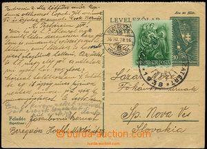 58661 - 1938 díl z dvojité maďarské dopisnice zaslané na Sloven