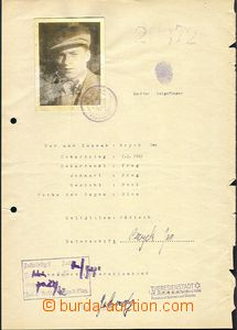 58664 - 1942 C.C. TEREZIN-THERESIENSTADT  personal sheet with photo