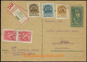 58672 - 1938 dofrankovaná maďarská dopisnice 10f zaslaná jako R