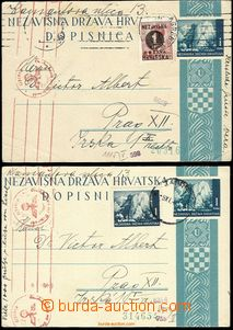 58701 - 1941 2 pcs of PC Mi.P2Ab uprated with stamp Mi.41, 50 with C
