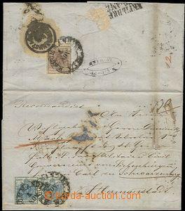 58702 - 1851 skládaný těžší R dopis vyfr. zn. I.emise 2-páska zn. 9K