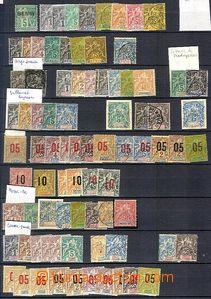 58740 - 1885-1930 FRENCH COLONIES  zajímavá sestava zn. na listu A