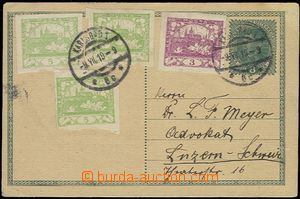 58777 - 1919 CPŘ3 8h Charles to Switzerland, uprated with stamp Pof