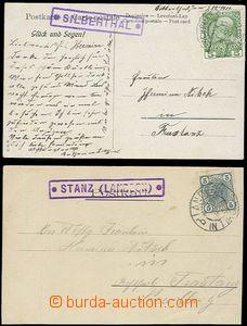 58783 - 1905-11 2 pohlednice s fialovými razítky poštoven SILBERT