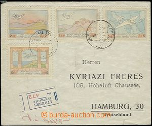 58790 - 1933 Reg and airmail letter to Germany, in front franked wit
