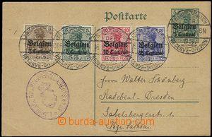 58899 - 1915 BELGIEN  dopisnice 5Pf s přetiskem Mi.P1, dofr. 4ks p�