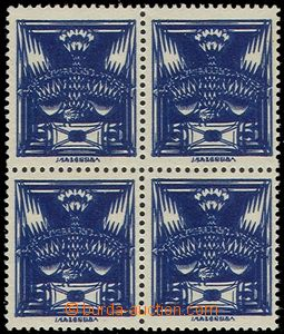 58954 - 1920 Pof.143A, block of four, double impression, exp. by Gil