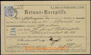 59014 - 1895 notářský Retour - Recepisse, vyfr. zn. 10Kr, DR Auscha