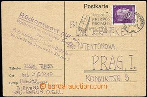 59031 - 1944 C.C. BIRKENAU  postcard franked by A. Hitler 6Pf, CDS B