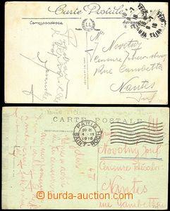 59059 - 1918 FRANCIE  sestava 2ks pohlednic zaslaných nevyplaceně,