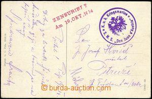 59060 - 1914 S.M.S. Don Juan d'Austria  round violet postmark on Ppc