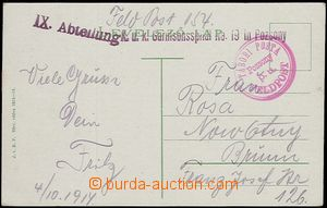 59107 - 1914 postcard Bratislava with red round cancel. Tábori Post