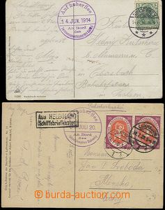 59130 - 1914-20 GERMANY  2 pcs of Ppc with postmarks ship post, 1x T