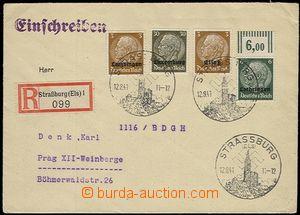 59144 - 1941 ELSASS  filatelistický R-dopis do Protektorátu vyfr.