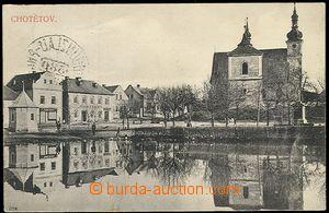 59159 - 1910 Chotětov - čb. záběr na náves s kostelem a rybník