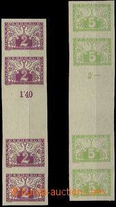 59168 - 1919 Pof.S1Ms + S2Ms, unfolded 4-stamp gutters, wide margins