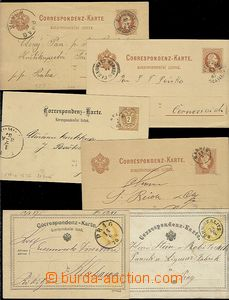 59182 - 1871-87 comp. 6 pcs of PC, 2x yellow with CDS Prag, Böhm. Sk