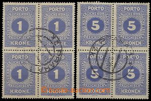 59254 - 1919 Austrian Postage due stamp Mi.55A + 56A in blocks of fo