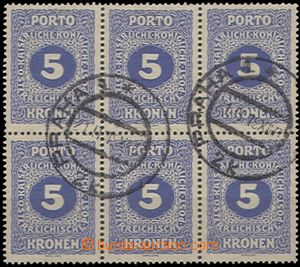 59257 - 1919 Austrian Postage due stamp Mi.56A, block of 6, as Czech