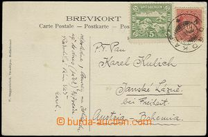59275 - 1907 postcard to Bohemia, franked with. mixed franking stamp