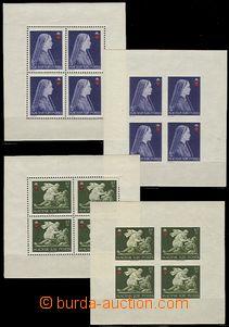 59299 - 1942 Mi.696-98A+B Červený kříž, sestava 6ks 4-bloků pe