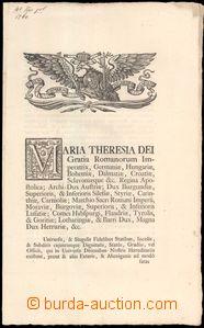 59313 - 1760 cirkulář Marie Terezie, latinsky psaný, Nicolaus Palffy