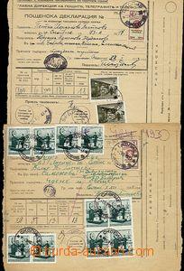 59330 - 1942-43 3ks větších částí balíkových průvodek zasla