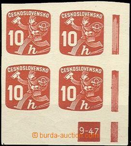 59382 - 1945 Pof.NV24, pravý rohový 4-blok s DZ 9-47, kat. 900Kč