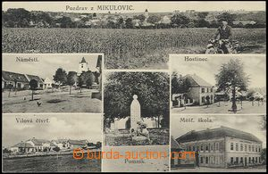 59485 - 1925 Mikulovice - 6-view, pub, school, memorial, man on/for