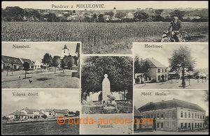 59485 - 1925 Mikulovice - 6-okénková, hostinec, škola, pomník, m