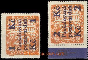 59496 - 1925 Pof.PD3-4, hodnota 1Kč + 2Kč/250h, kat. 390Kč