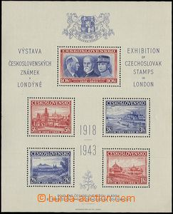 59548 - 1943 London MS - exile issue, perf, margins gum light yellow