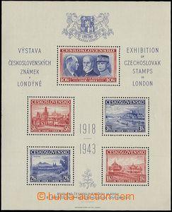 59548 - 1943 Londýnský aršík - exilové vydání, zoubkovaný, o