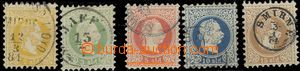 59556 - 1867 LEVANT  Mi.1-5, nice postmarks, 1x postmark Lloyd, 1x s