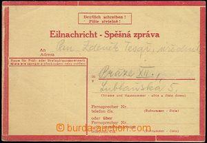 59610 - 1944 CSZ1 II.typ, spěšná zpráva zaslaná z Brna 21/11 44 do P