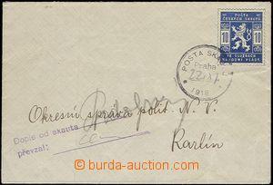 59655 - 1918 dopis vyfr. zn. 10h modrá, Pof.SK1 s raz. Pošta skaut