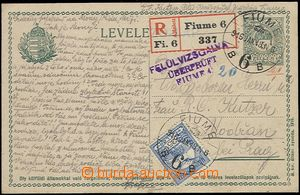 59672 - 1916 FIUME  PC 5f Mi.P34 sent as Reg from Fiume 916 Jan.18.,