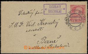 59688 - 1916 zálepka FJ 10h, rámečkové razítko ŘEŠIHLAVY/ ŘE