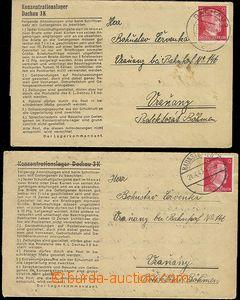 59707 - 1943-44 C.C. DACHAU + Arbaitslager HAUNSTETTEN  2 pcs of pre