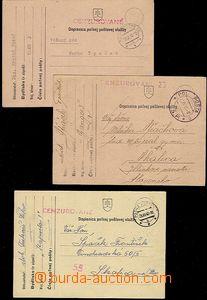 59724 - 1943 3ks lístků PP s raz. č.52 a 1x znárodněné č.8, o