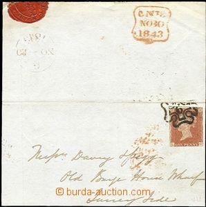 60130 - 1843 větší část dopisu vyfr. zn. Mi.3 1d červenohněd�