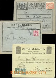 60181 - 1924-37 3 pcs of envelopes with added-print bednářských f