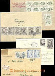 60273 - 1953 sestava 4ks různých celistvostí, obchodní papíry,